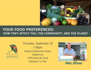 Your Food Preferences: How They Affect You, the Community, and the Planet @ Knicely Conference Center | Bowling Green | Kentucky | United States