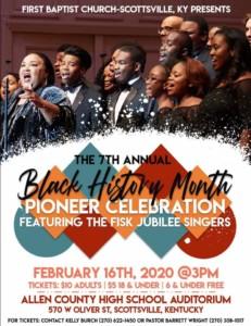 First Baptist Church Scottsville 7th Annual Black History Pioneer Celebration @ Allen County Scottsville High School Auditorium