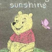 Pooh Sidewalk Art
