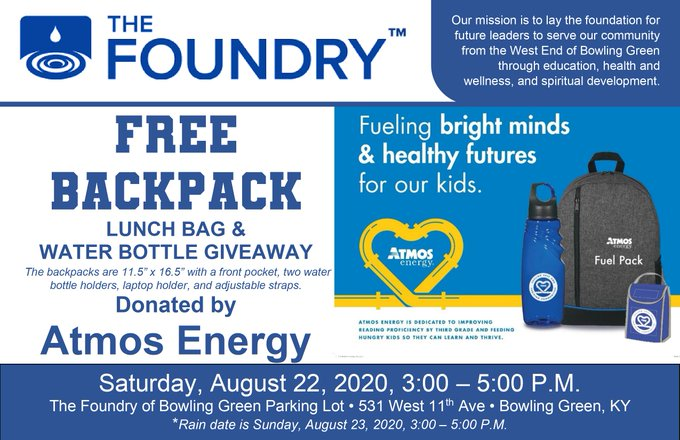 Atmos Energy Backpack Giveaway At The Foundry