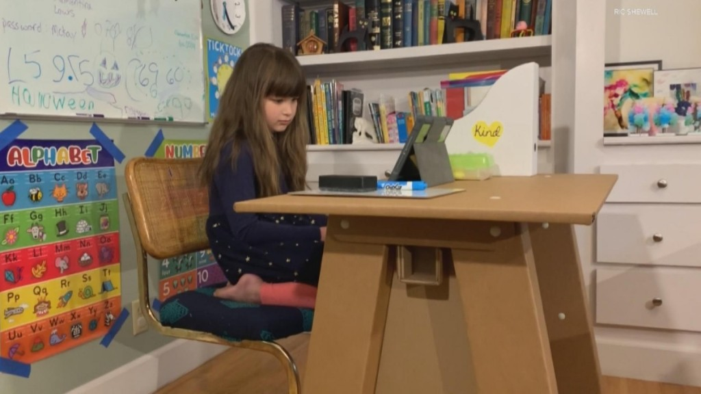 Cardboard Desks Aid At Home Learning