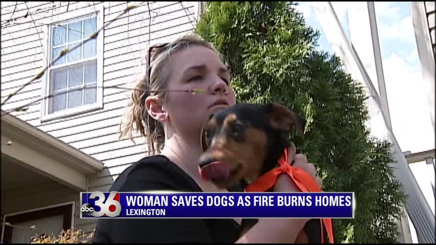 Tifany Perrine saves 2 dogs from burning home in Lexington 4-4-16