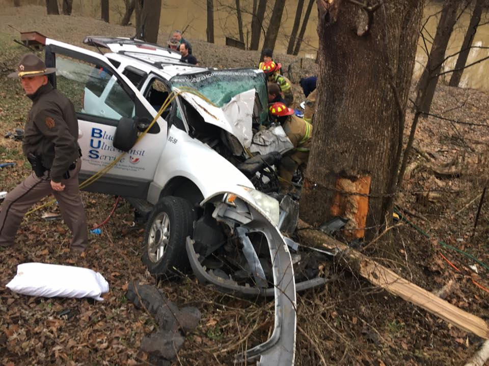 SUV hits tree on Glenn's Creek Road in Franklin County 12-21-16.  Three men injured