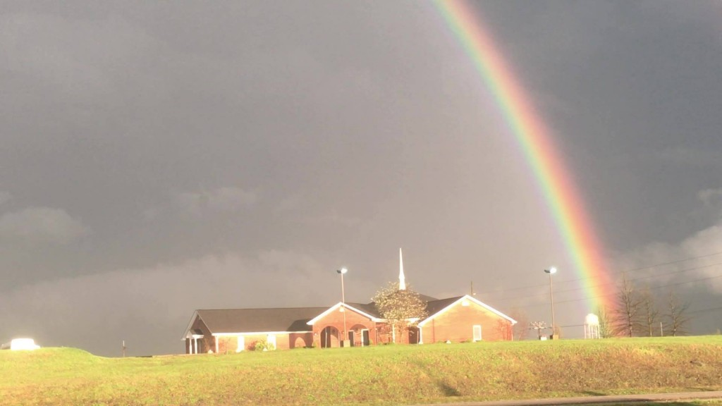 Rainbow captured by the Anderson News on a stormy evening in Lawrenceburg 4-5-17