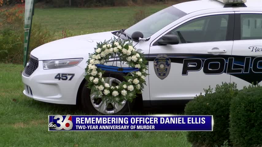 Wreath placed next to Richmond Police Officer Daniel Ellis' cruiser on the 2-year anniversary of his death in the line of duty 11-6-17