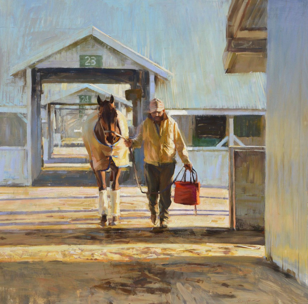 Morning at Keeneland painting for Sporting Art Auction