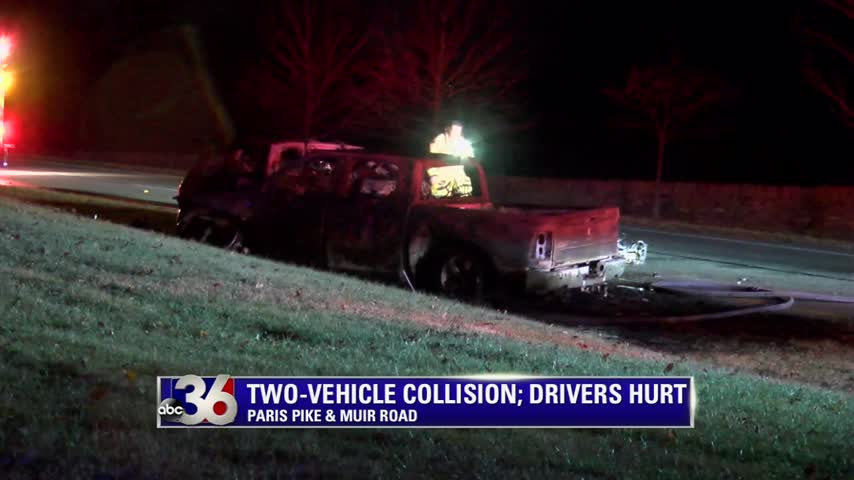 Fiery head-on crash on Paris Pike in Lexington 1-10-17.  LPD says driver going wrong way on road.