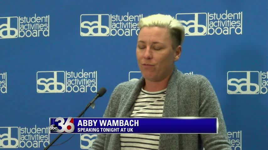 Retired U.S. soccer star Abby Wambach speaks at UK 4-5-16