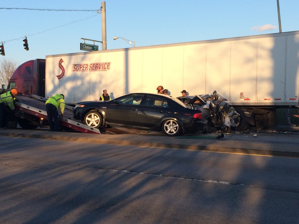 Three cars and semi in collision at Newtown Pike and Citation Boulevard in Lexington on 3-15-17.  Lexington Police say car driver who cause wreck may have been DUI