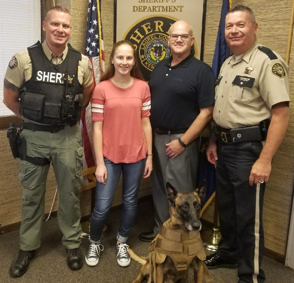 """Body armor donated to Laurel County Sheriff's Office K-9 """"Edge.""""  Donation by Emma and Phil McDonald 8-9-17"""