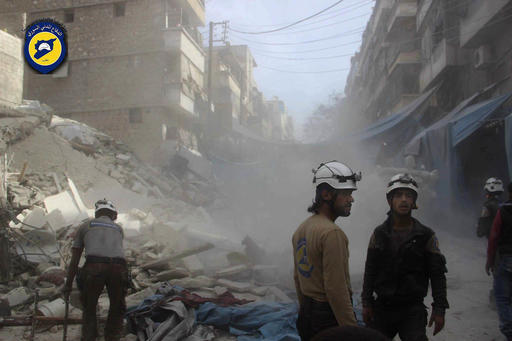 In this picture provided by the Syrian Civil Defense group known as the White Helmets