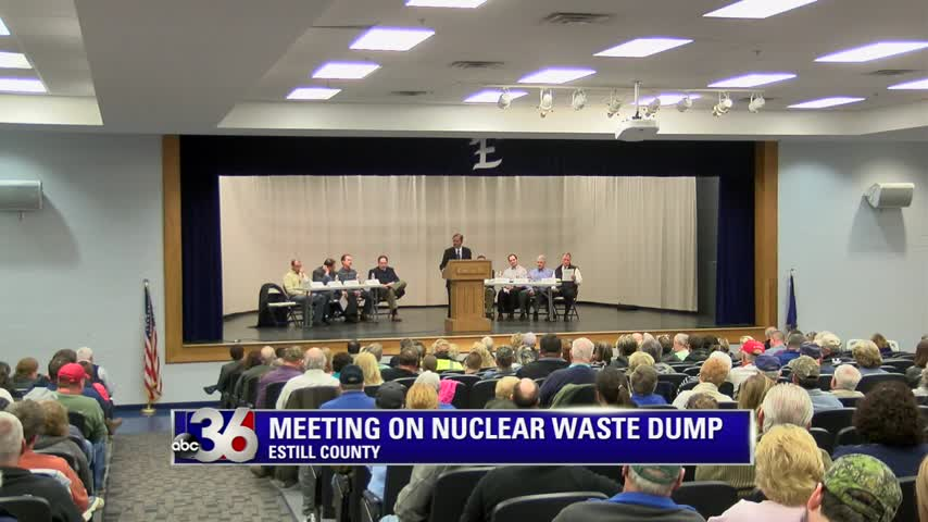 Public meeting at Estill County High School on 3-1-16 about low-level radioactive waste that was illegally dumped in a landfill across from the high school and middle school
