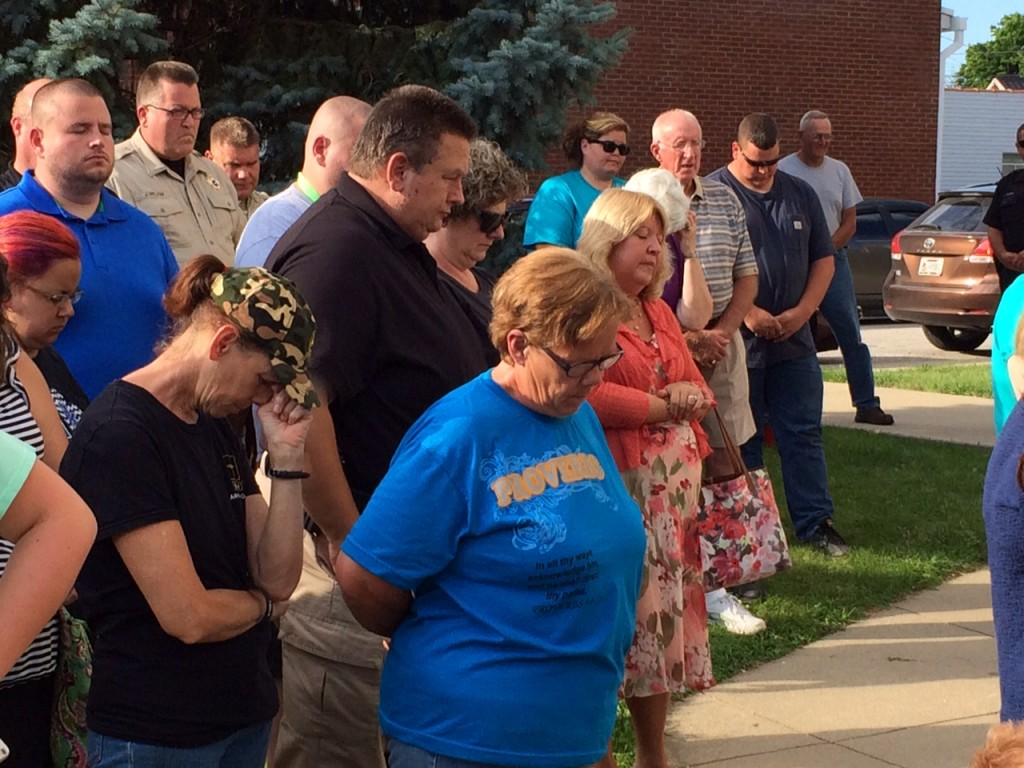 Community Prayer in Lawrenceburg 7-11-16 disrupted by firecrackers