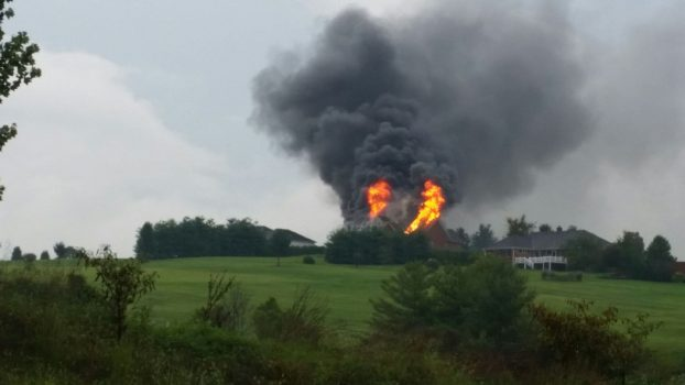 Lightning suspected cause of house fire in Boyle County 9-5-17.  Courtesy:  Advocate-Messenger