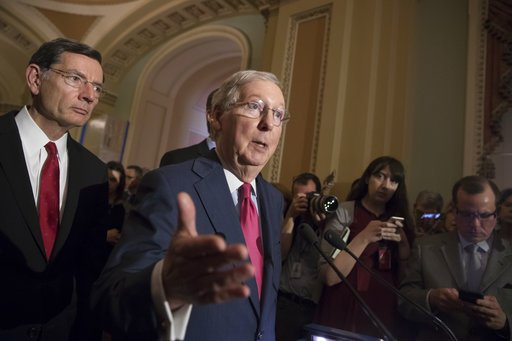 Nearly a dozen protesters stood up Monday at an event at McConnell's alma mater