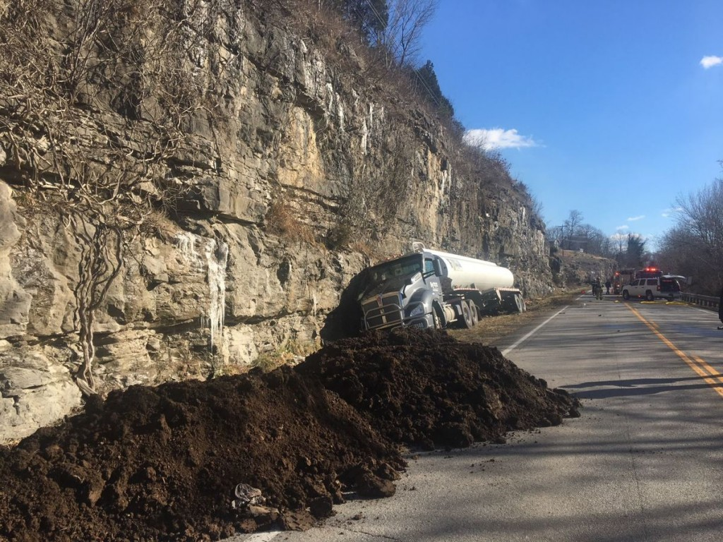 Gas tanker truck hits rock wall and spills fuel on US 27 in Pulaski County 2-2-18.  Photo courtesy:  Commonwealth Journal