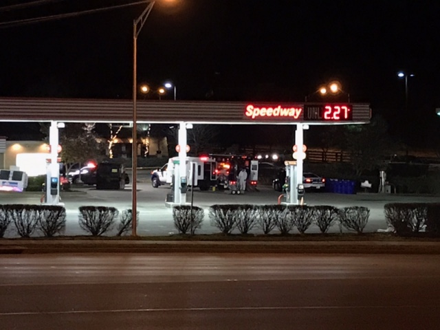 Speedway gas station evacuated after bomb scare 12-6-17 at Liberty Road and Man O War in Lexington.  Suspicious device turned out to be harmless smoke detector thrown away in business dumpster.