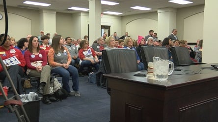 Teachers at the Senate State and Local Government Committee  vote on Senate Bill 1.