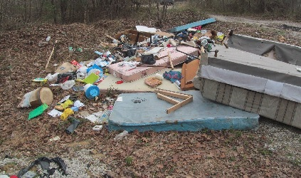 Illegal dump site at Daniel Boone National Forest