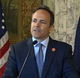 Governor Matt Bevin at press conference announcing he won't sign tax and budget bills.