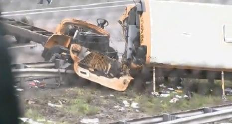 Crash in New Jersey involving school bus and dump truck.