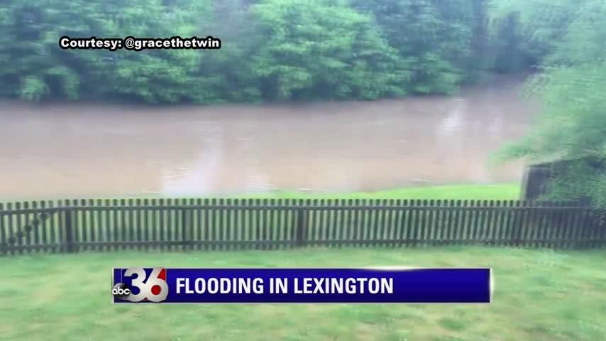 Flooding in Veterans Park in Lexington due to heavy rain 5-18-18