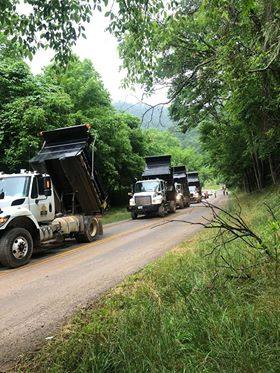 Kentucky 122 in the McDowell community of Floyd County closed by mudslide 6-12-18