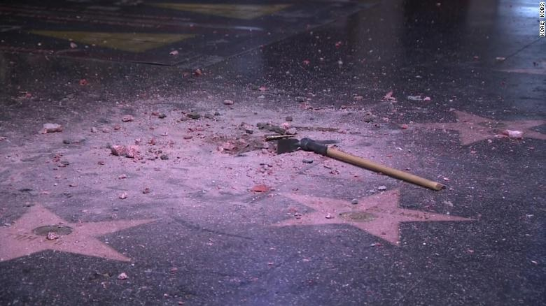Donald Trump's star on the Hollywood Walk of  Fame was vandalized.