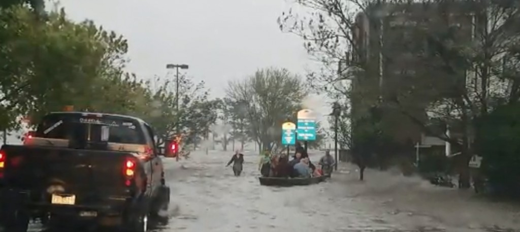 People in North Carolina being rescued in flooding from Hurricane Florence.