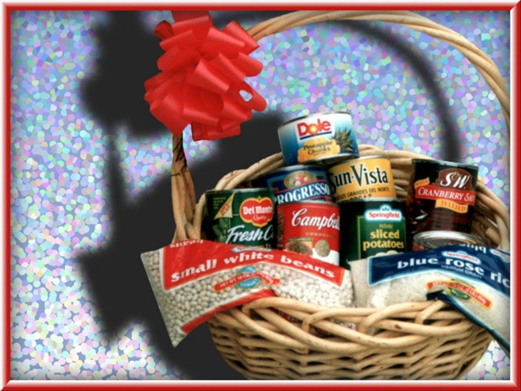 Basket of food and canned goods