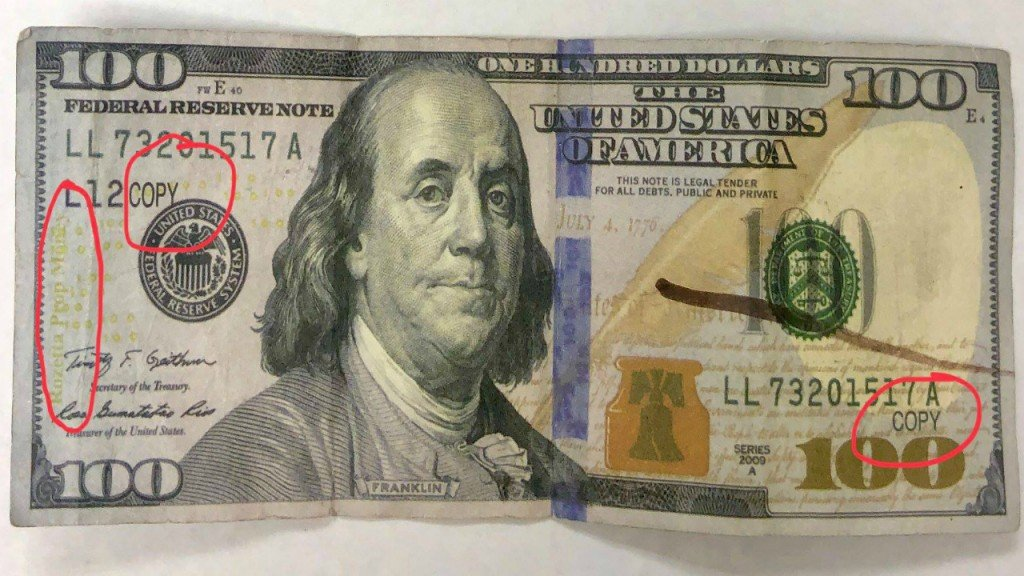 Counterfeit $100 bills being circulated in West Liberty in Morgan County in February 2019