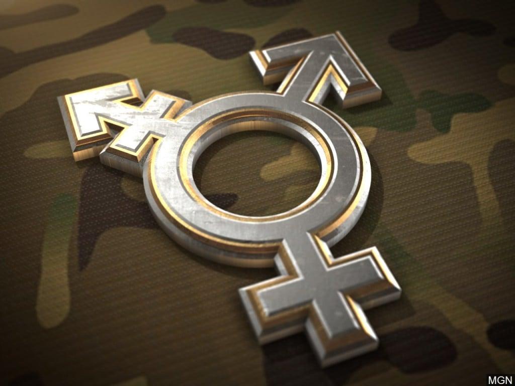 Transgender symbol on a Multicam camouflage background