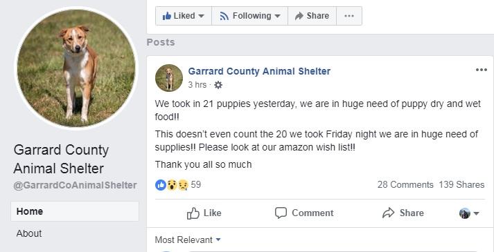 Garrard Co. Animal Shelter Facebook post