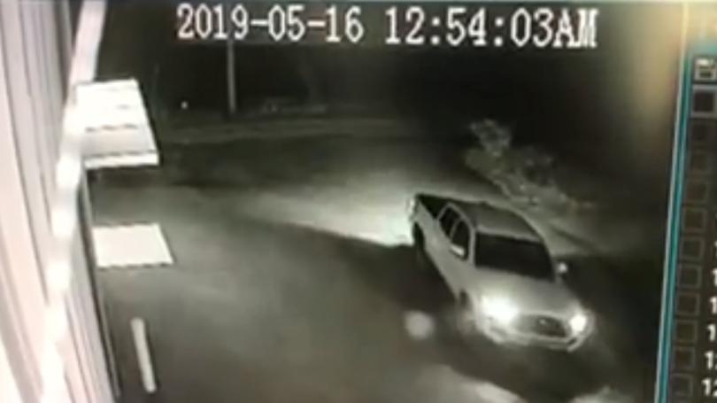 Security camera image of Toyota Tacoma pickup truck used in excavator theft from Rental Pro in Perry County on 5-16-19