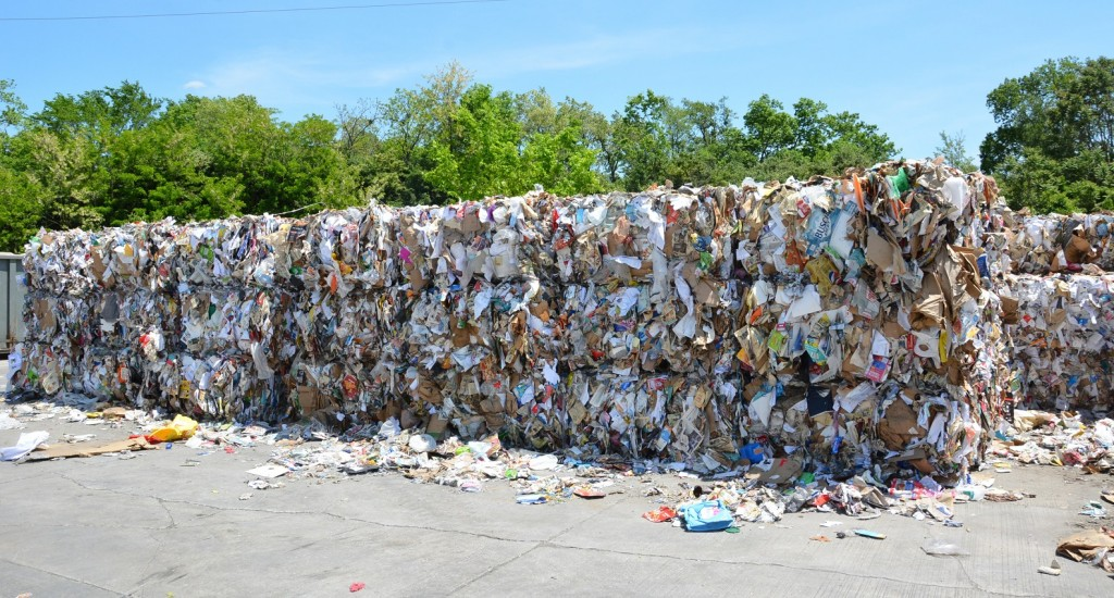 Paper at the Lexington Recycling Center. It has temporarily stopped taking recycled paper.
