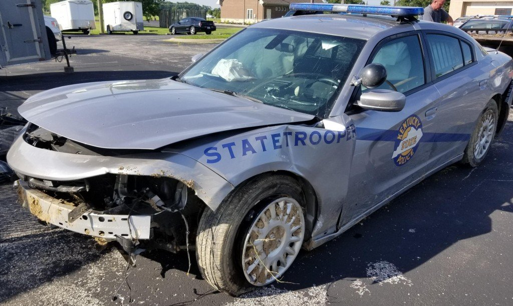 State Police cruiser damaged in crash during high speed chase in McLean County on 6-27-19.  Trooper Adam Wright suffered minor injuries.