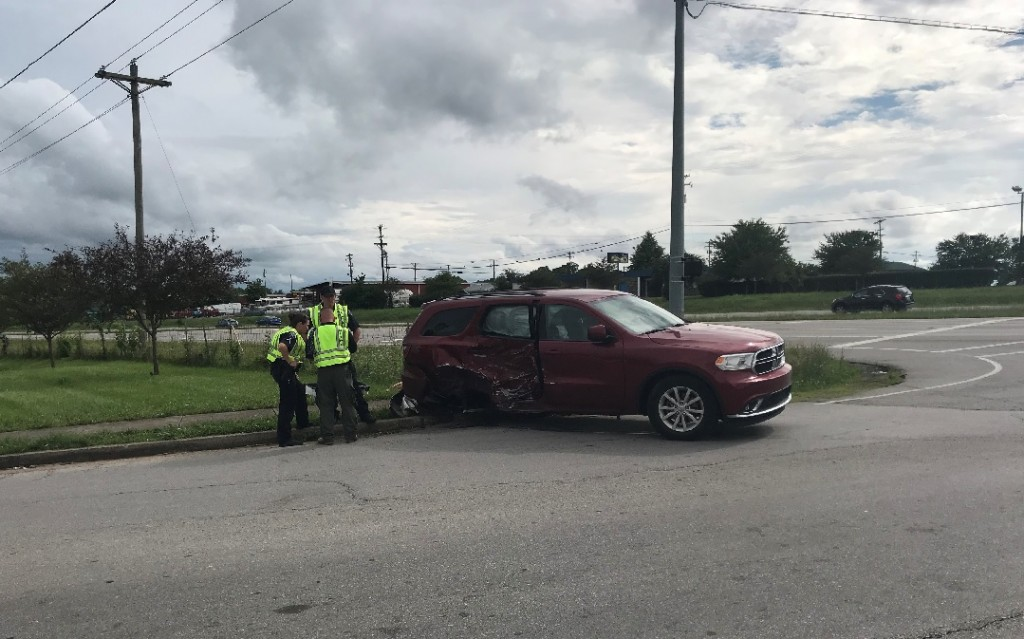 Accident on US 27 at Edgewood Dr. involving Nicholasville Police cruiser and a van