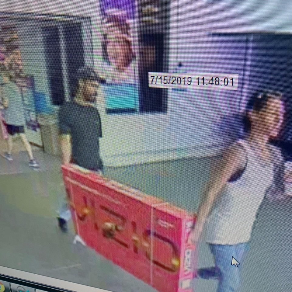 Two people accused of shoplifting a television from Walmart in Georgetown.