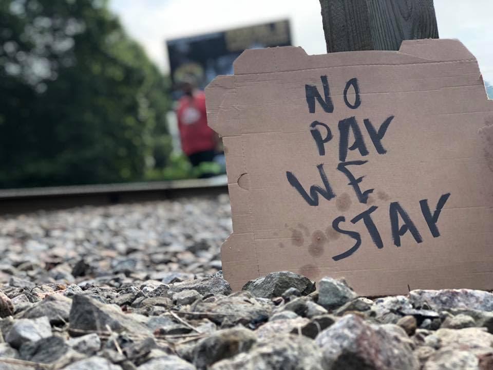 Blackjewel coal miners protest sign in Cumberland 7-30-19