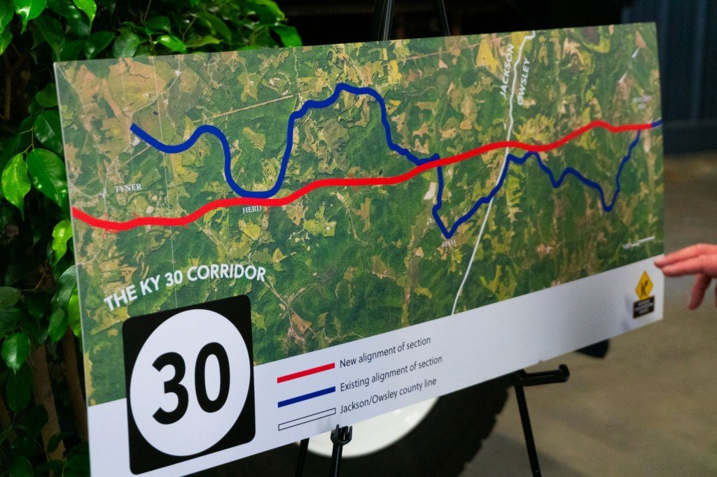 KY 30 map showing scheduled straightening after construction
