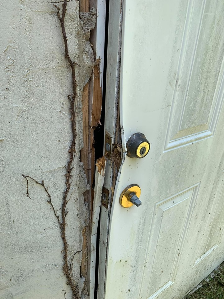 Damaged door from theft attempt on building housing the Salt Lick Fire Department's communication repeater