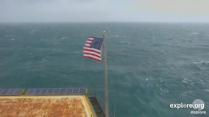 Frying Pan Tower flag blowing on Oct. 11