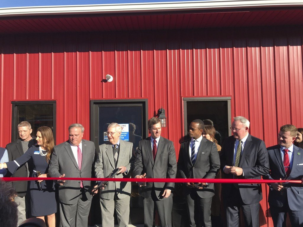 Ribbon cutting at Volunteers of America substance abuse center in Manchester 11-25-19.  Among those in attendance