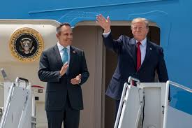 Kentucky Governor Matt Bevin and President Donald Trump getting off Air Force One