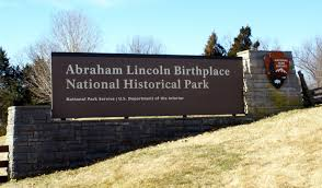 Abraham Lincoln birthplace sign in Hodgenville