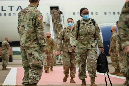 Soldiers return to Fort Campbell after more than a month deployment helping fight the coronavirus in New York City