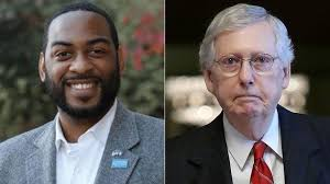 Charles Booker-Mitch McConnell split screen