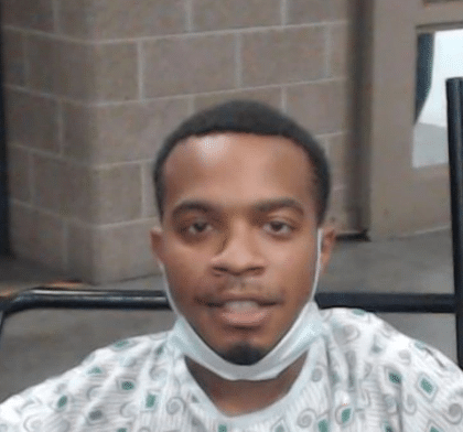 Darion Worfolk released from the hospital and taken straight to jail on 8-4-20 after being shot in the hip by LPD Officer Miller Owens after a brief chase in the area of Fifth and Chestnut streets on 7-31-20