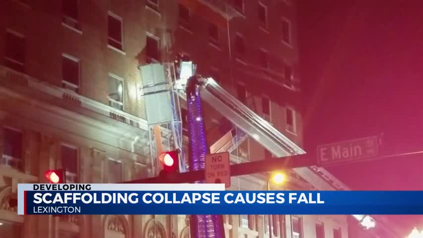 Two men were saved by their safety equipment when the scaffolding they were working on at the Chase Bank building in downtown Lexington at East Main and MLK