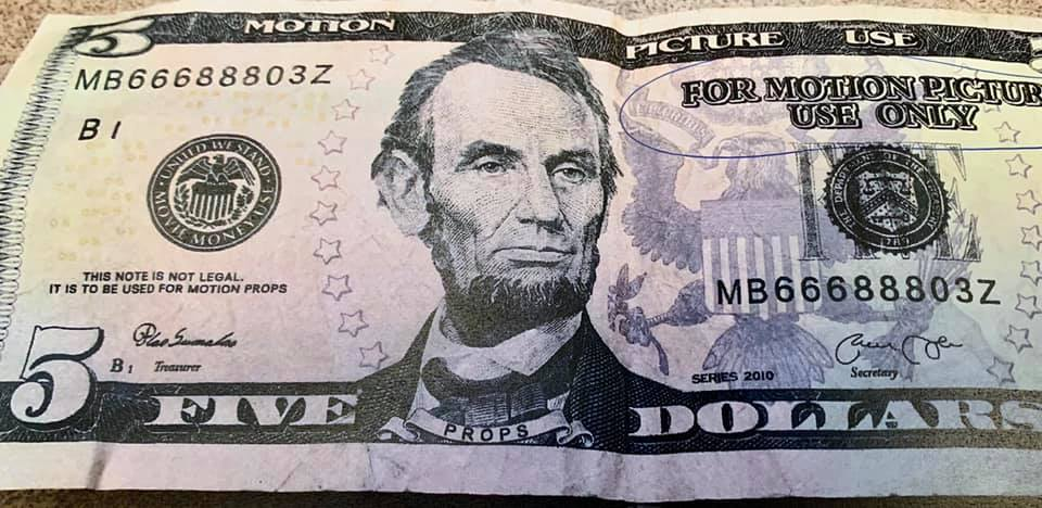 """Fake money that says """"For Motion Picture Use Only"""" showing up in Letcher County in August 2020"""
